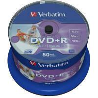 DVD+R Verbatim (43512) 4.7Gb 16X CakeBox 50шт Wide inkjet photo Printable