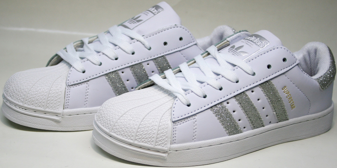 the best attitude c6caa 3f2fe Белые кроссовки адидас Adidas Superstar White Silver - R 40