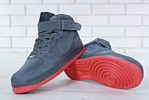Зимние кроссовки Nike Air Force Grey мехом, мужские кроссовки. ТОП Реплика ААА класса., фото 3