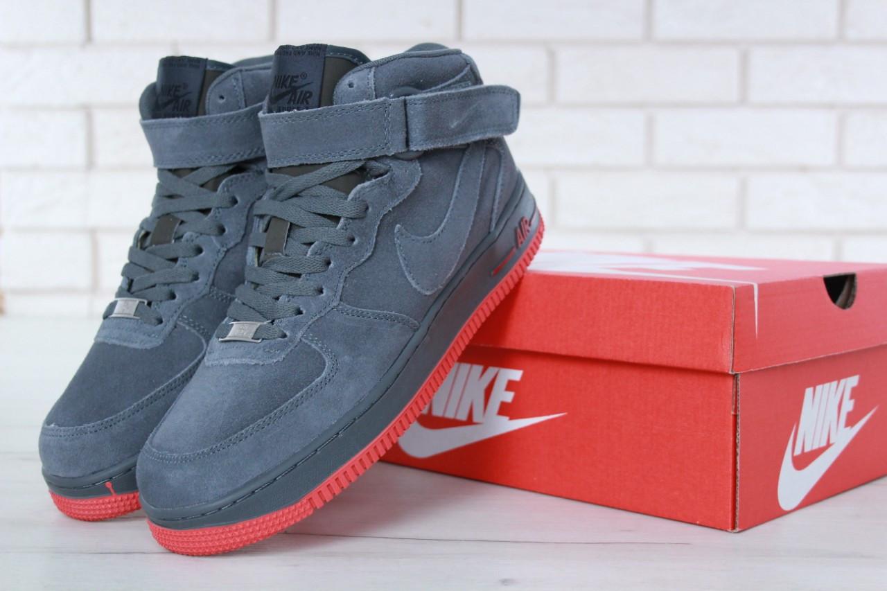 Зимние кроссовки Nike Air Force Grey мехом, мужские кроссовки. ТОП Реплика ААА класса.