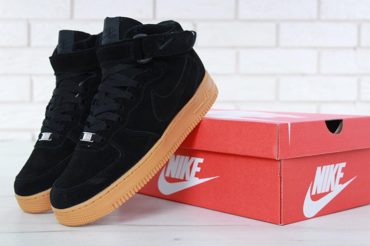 Зимние кроссовки Nike Air Force Black Gum с мехом, мужские кроссовки. ТОП Реплика ААА класса.