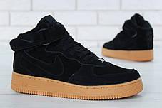 Зимние кроссовки Nike Air Force Black Gum с мехом, мужские кроссовки. ТОП Реплика ААА класса., фото 3