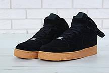Зимние кроссовки Nike Air Force Black Gum с мехом, мужские кроссовки, фото 2