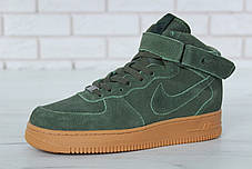 Зимние кроссовки Nike Air Force Green с мехом, мужские кроссовки. ТОП Реплика ААА класса., фото 2