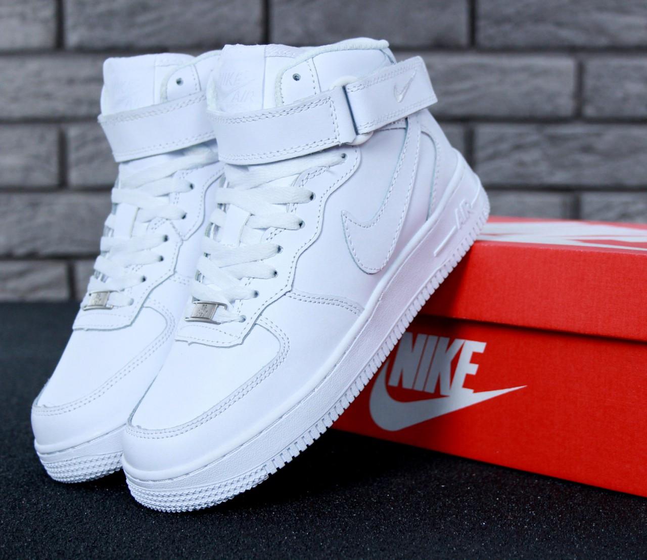 Зимние кроссовки Nike Air Force Brown с мехом, женские кроссовки. ТОП Реплика ААА класса.