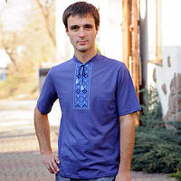 Мужская футболка-вишиванка синяя | Чоловіча футболка-вишиванка синя