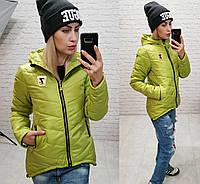 Новинка короткая стеганная стильная куртка Vogue плащевка салатовый 42 44 46 48, фото 1