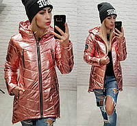 Новинка удлиненная стеганная стильная куртка фольгированная плащевка розовая 42 44 46 48, фото 1