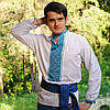 Вышитая рубашка голубой орнамент | Вишита сорочка голубий орнамент