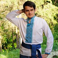 Вышитая рубашка голубой орнамент | Вишита сорочка голубий орнамент, фото 1