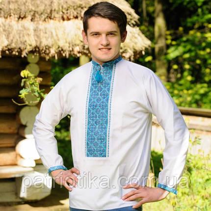 Вышитая рубашка голубой орнамент | Вишита сорочка голубий орнамент, фото 2