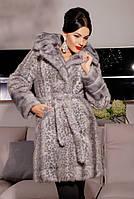 Очень красивая, стильная шубка из эко-меха под норку, серый леопард