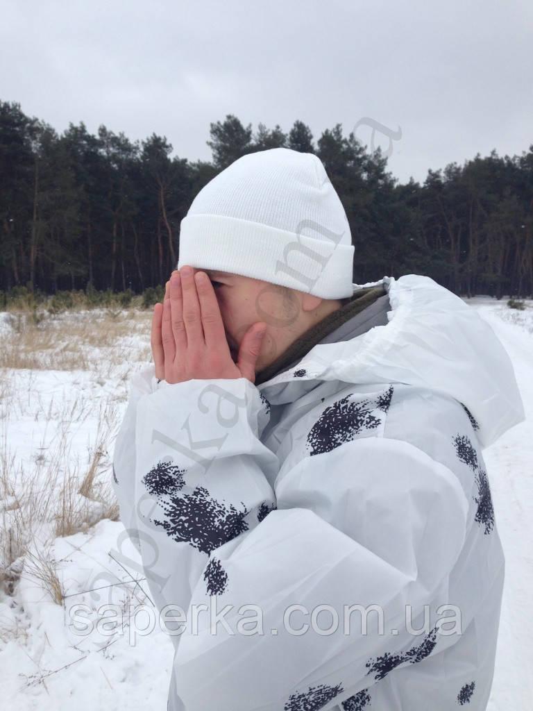 Шапка зимняя белая с отворотом Reis