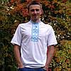 Вышиванка мужская голубой геометрический орнамент | Вишиванка чоловіча голубий геометричний орнамент