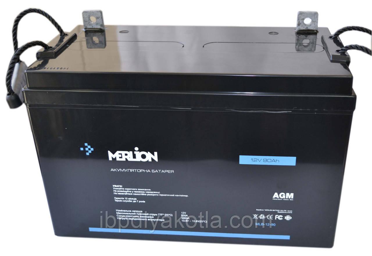 Аккумулятор мультигелевый MERLION MLB-12-90 12V 90AH, (AGM) для ИБП