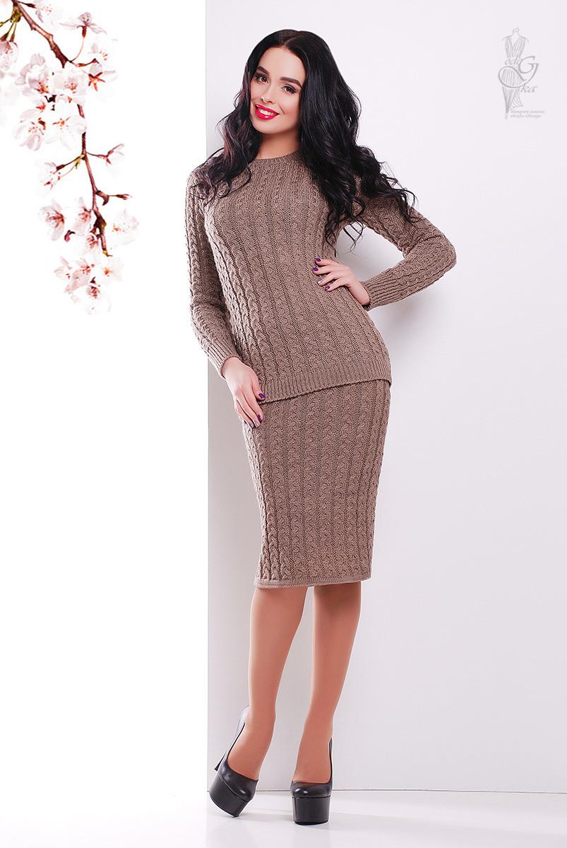 Костюм вязаный стильный Бенита-2 свитер+юбка