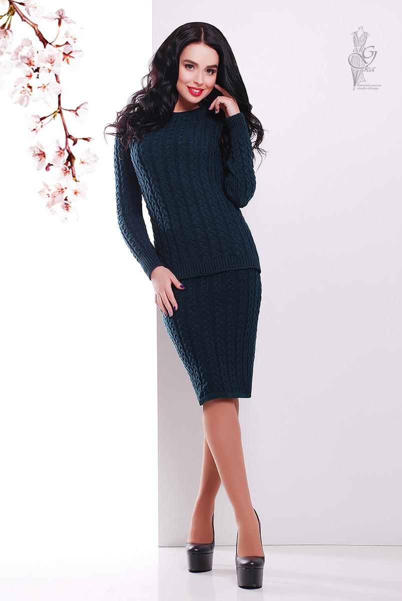 Костюм вязаный стильный Бенита-6 свитер+юбка