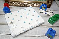 """Флвнелевая пеленка для новорожденного """"Звездочки с голубым"""" 80х100см"""
