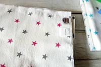 """Флвнелевая пеленка для новорожденного """"Звездочки с розовым"""" 80х100см"""