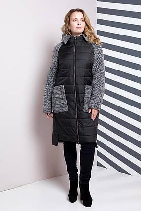 Стеганое комбинированное пальто прямого силуэта, большие размеры 54, 60, фото 2