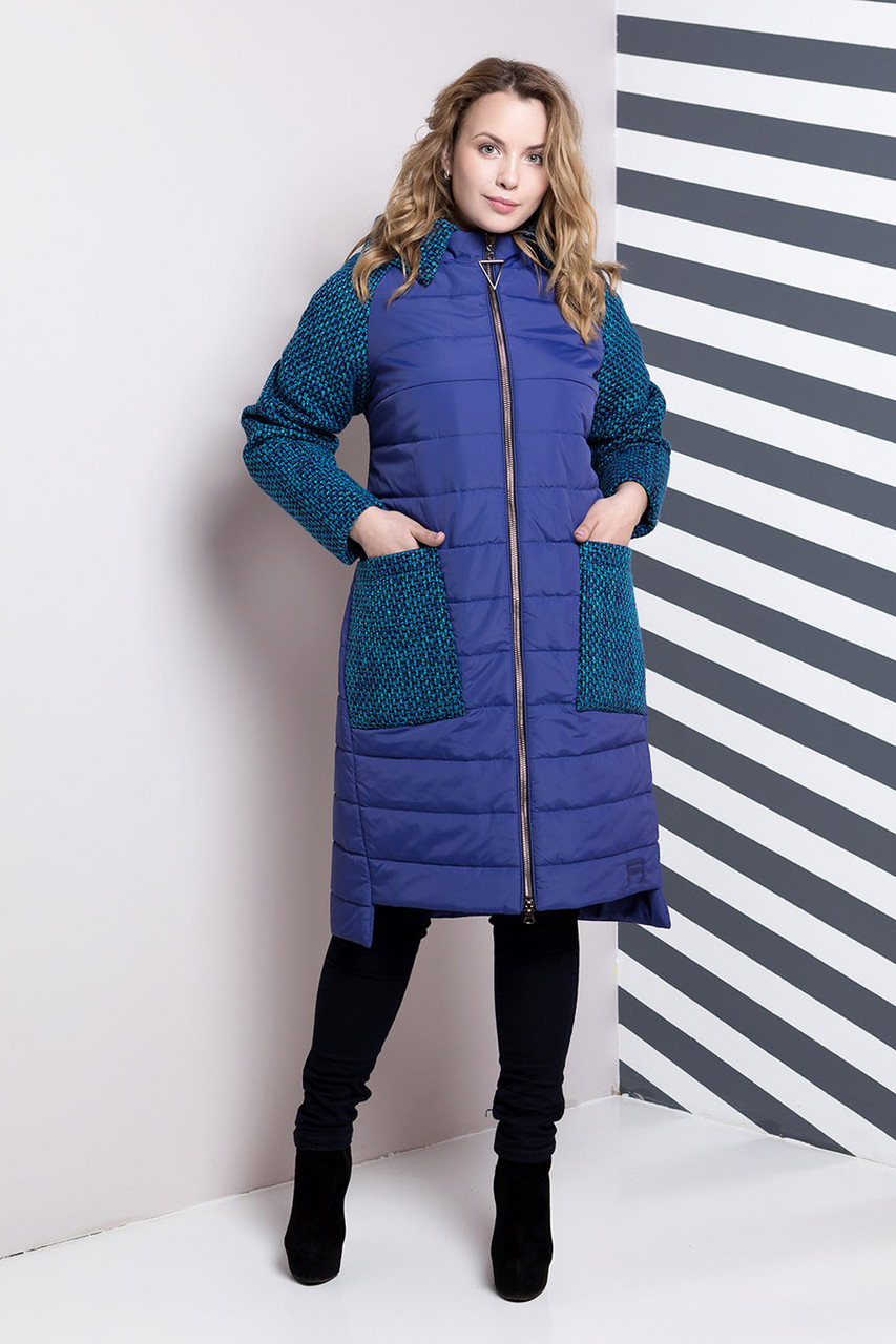 Стеганое комбинированное пальто прямого силуэта, большие размеры 54, 60