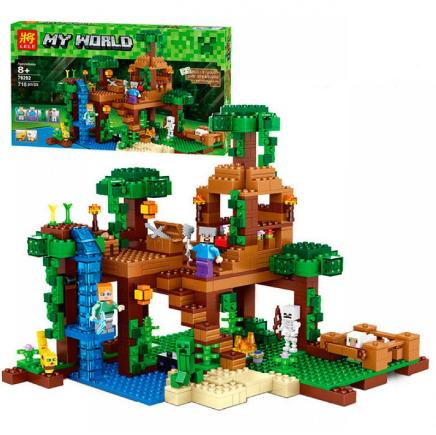 """Конструктор Lele Minecraft 79282 """"Домик на дереве в джунглях"""", 718 деталей. (Аналог Лего 21125)"""