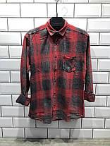Рубашка мужская в клетчатка красная, фото 2