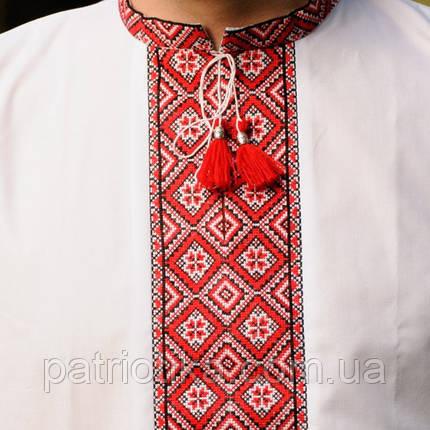 Вышиванка мужская красный орнамент | Вишиванка чоловіча червоний орнамент, фото 2