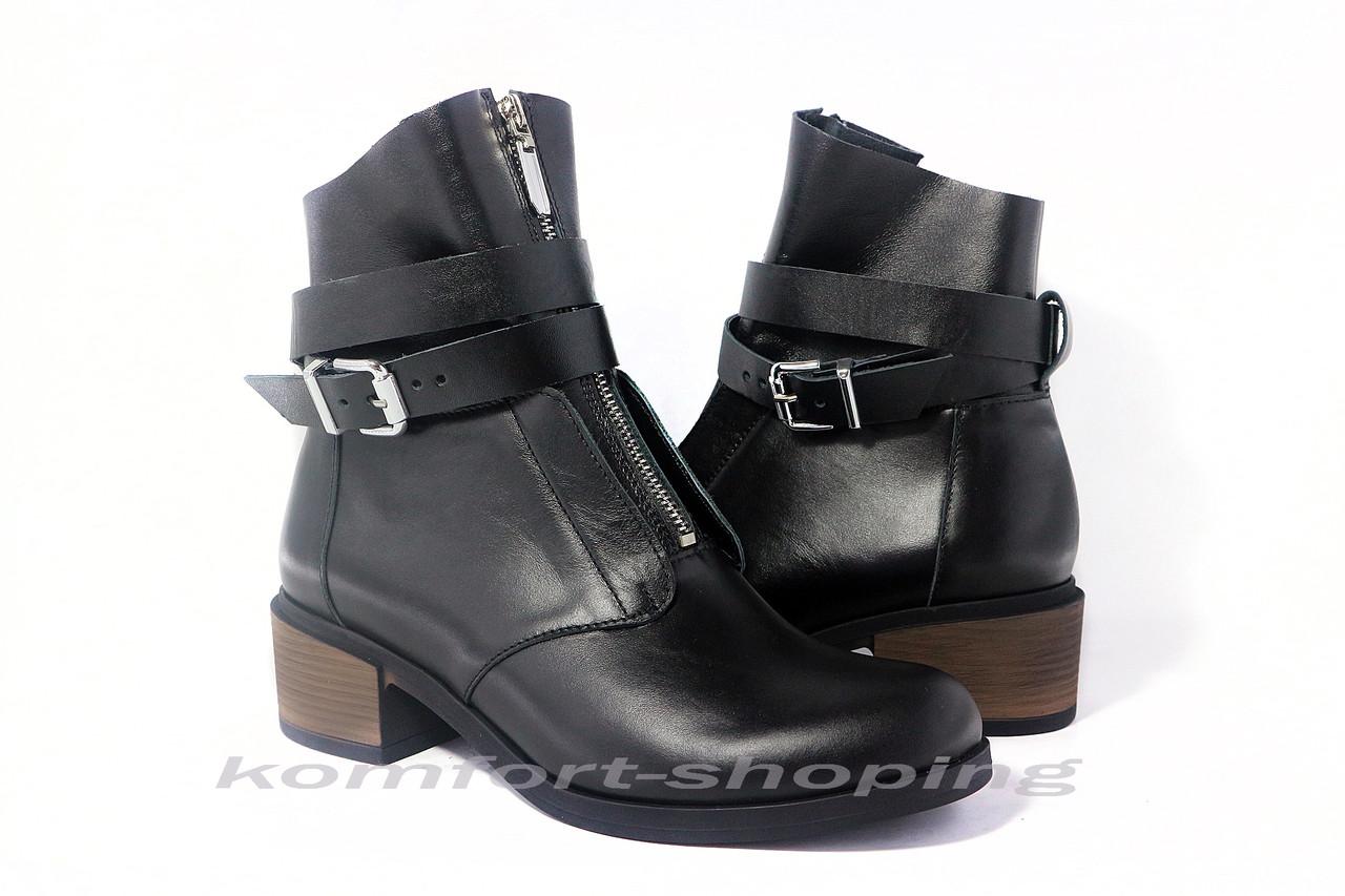 Ботинки  женские кожаные, черные   V 1138/1