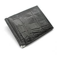 Зажим для купюр кожаный карты черный Canpellini 070-11