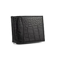 Зажим для купюр кожаный черный карты Canpellini 070-2