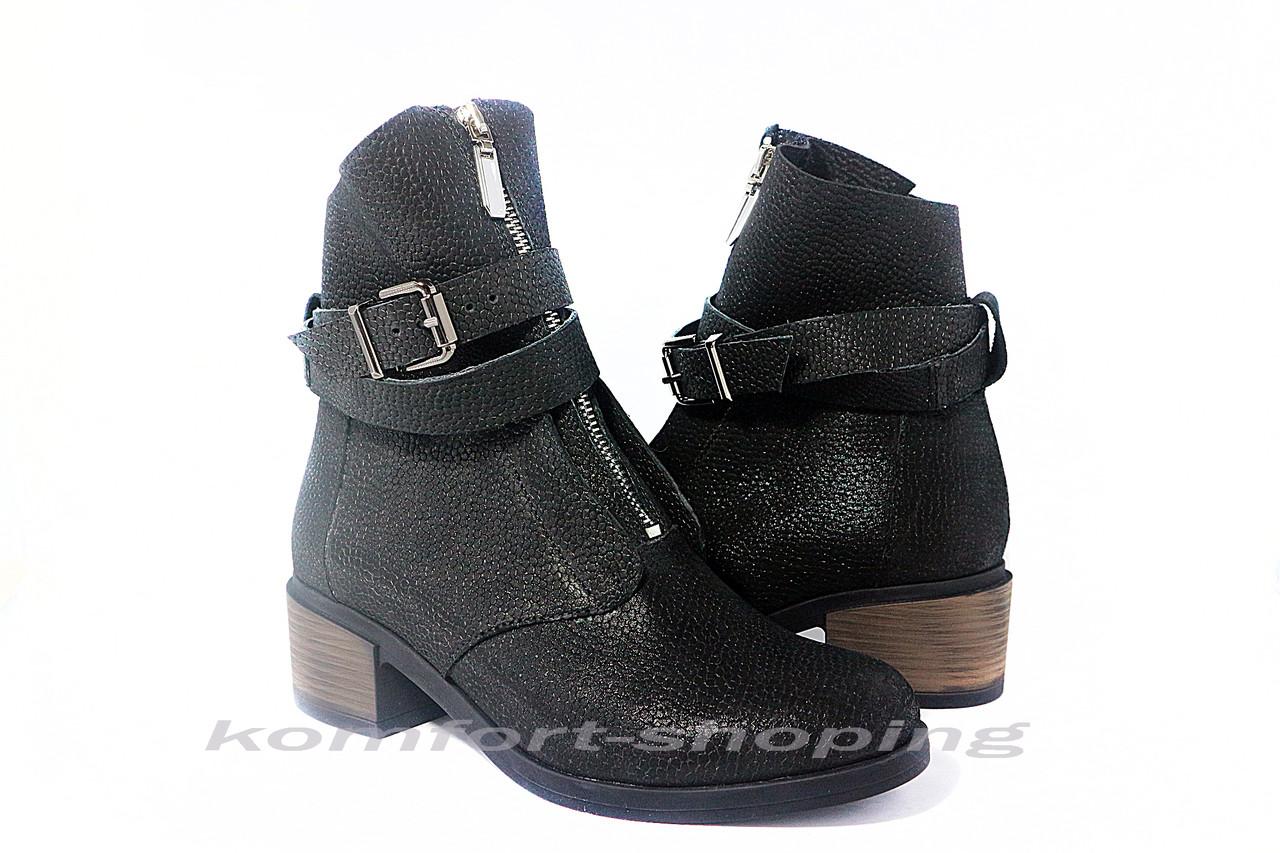 Ботинки  женские кожаные - флотар, черные   V 1138/1
