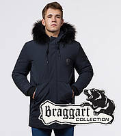 Braggart 'Black Diamond' 9828 | Зимняя мужская куртка графит