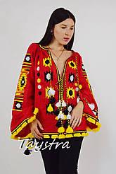Вышиванка блузка вышитая красная блуза этно стиль