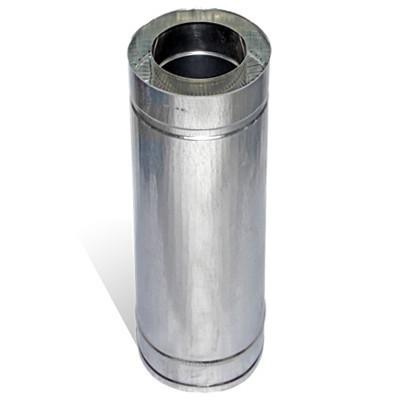 Труба дымоходная сэндвич 0.5 м х 220 мм х 280 мм нерж/цинк (0.5мм/0.5 мм) утепленная двустенная