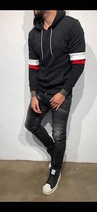 Кофта худи мужская черная, фото 2