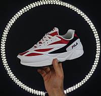 Мужские кроссовки Fila Venom white/red. Натуральная кожа. Живое фото (Реплика ААА+), фото 1