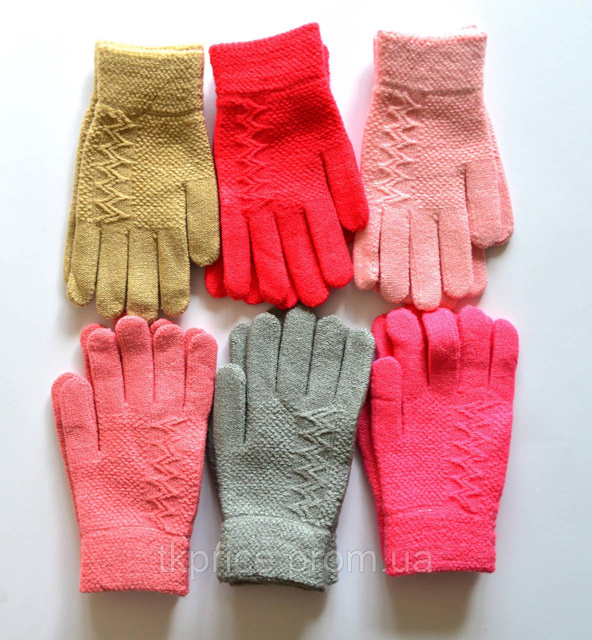 Детские шерстяные перчатки для девочки - длина 17 см