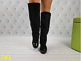 Оригинальные сапоги 35,36 размеры деми с лаковым носочком удобный каблук Шанель К741, фото 4