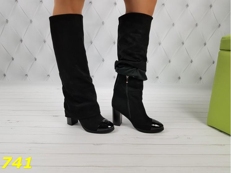 Оригинальные сапоги 35,36 размеры деми с лаковым носочком удобный каблук Шанель К741