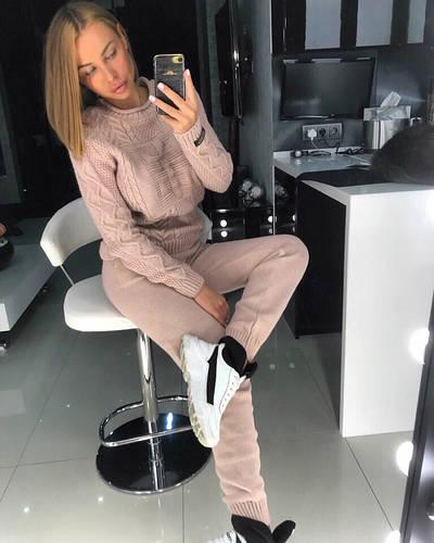 Костюм теплый женский вязаный штаны и кофта DORATTI