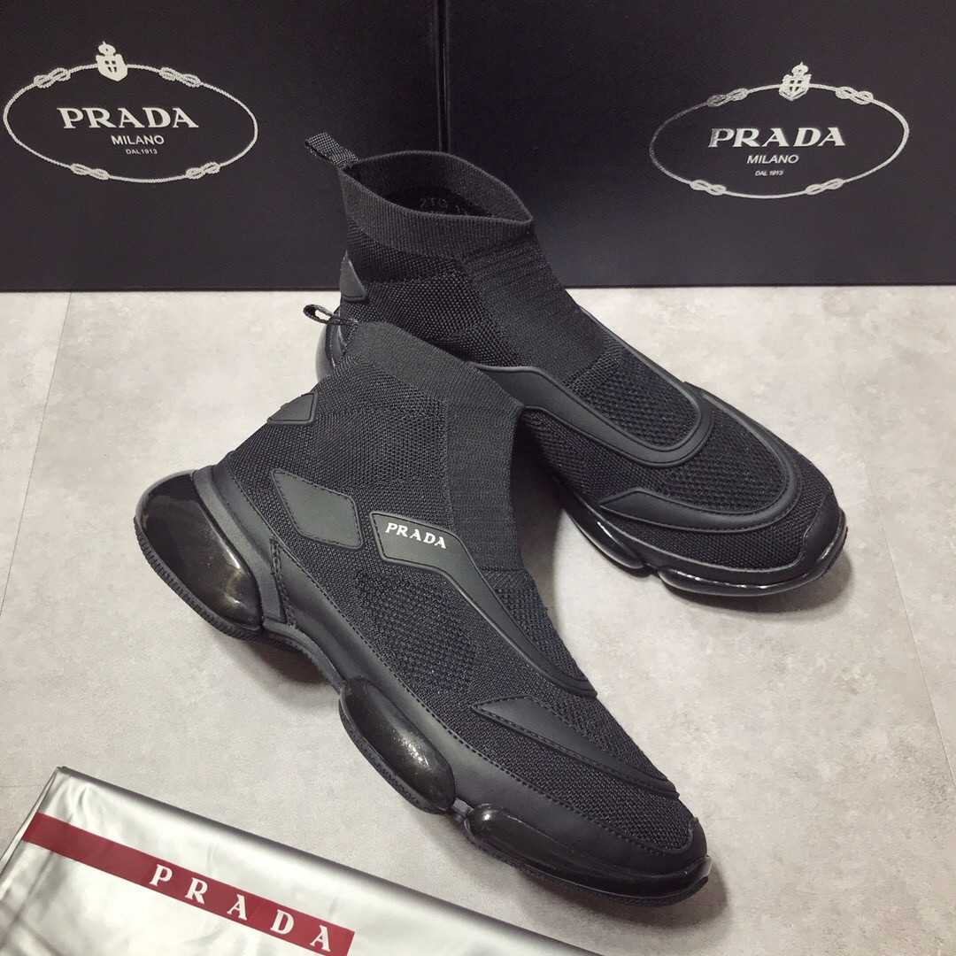 f07a1551 Мужские черные кроссовки Prada | vkstore.com.ua