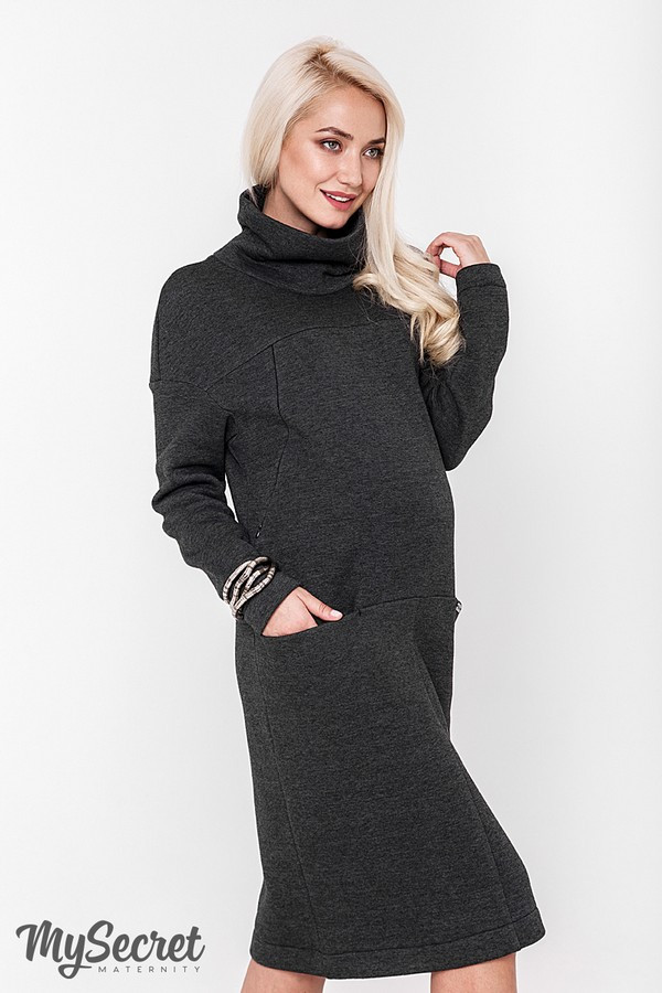 6d702962602 Очень теплое платье для беременных и кормящих SOLLY
