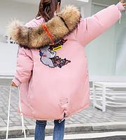 Куртка зимняя женская пуховик с вышивкой (розовая)
