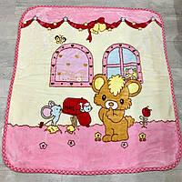 Красивый детский двойной  плед-одеяльце из микрофибры с мультяшными героями розового цвета