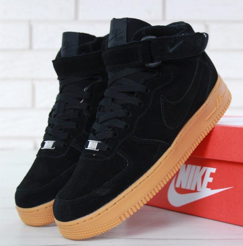 "df0f7932 Зимние кроссовки Nike Air Force 1 High ""Black Gum"" с мехом (Реплика ААА"