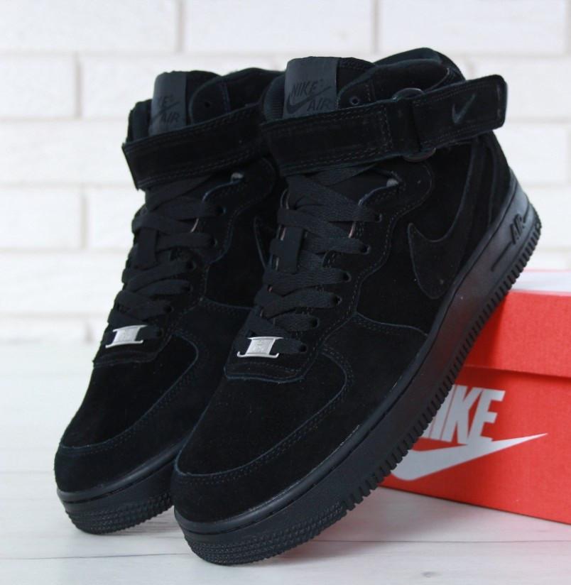 9f13b22a Зимние кроссовки Nike Air Force 1 High черные с мехом (Реплика ААА+) ...