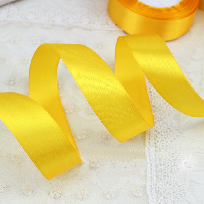 Лента атласная №16 желтая 12 мм