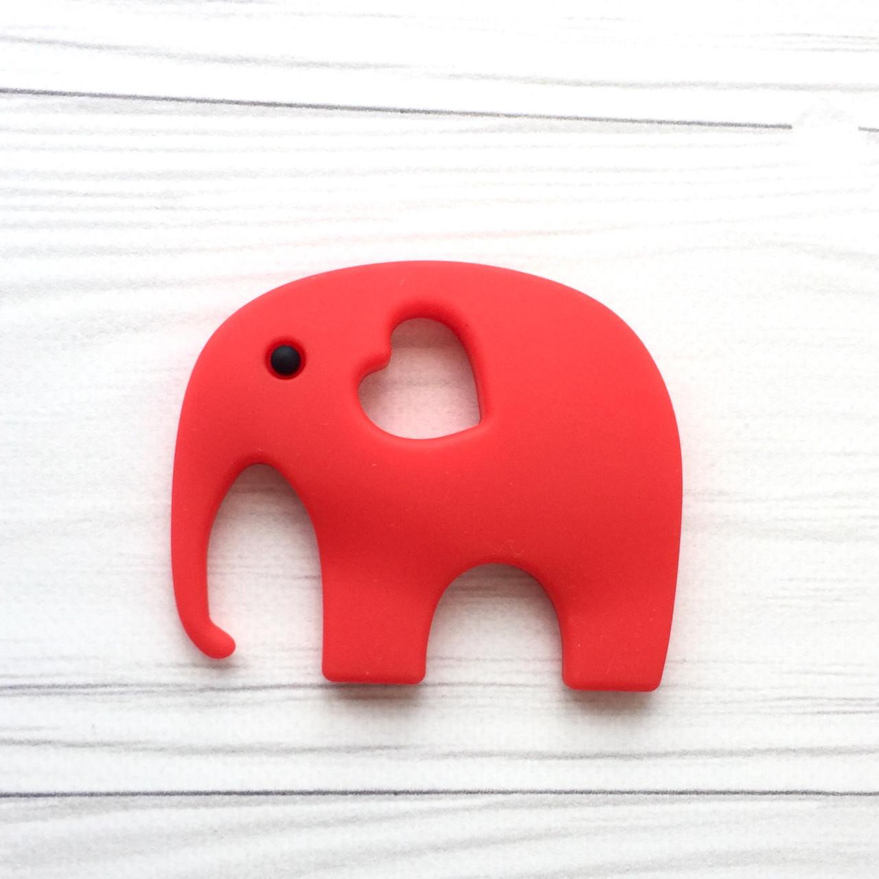 Слон с глазиком (красный) силиконовый грызунок