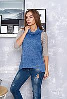 Женский жилет, цвет джинс, размеры от 44 до 54